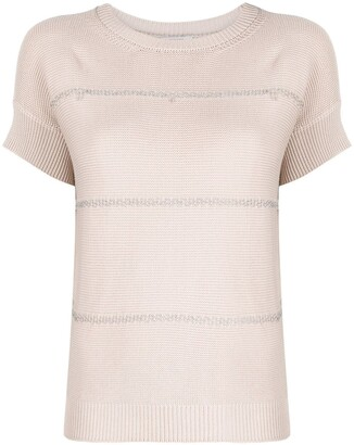 Peserico Bead-Embellished Textured-Knit Top