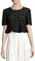 BCBGeneration Grid-Print Knit Crop Top