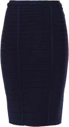 Herve Leger Alabaster Bandage Pencil Skirt