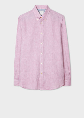 Paul Smith Men's Classic-Fit Pink Linen Shirt With Contrast Cuff Linings