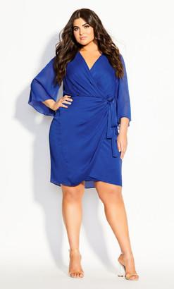 City Chic Softly Wrap Dress - cobalt