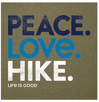 Life is Good Peace. Love. Hike. Cool Vee (Fatigue Green) Women's Clothing