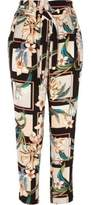 River Island Womens Green floral print tie waist tapered pants