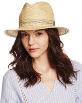 Aqua Straw Fedora with Contrast Stitching - 100% Exclusive