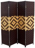 ORE International 70.75 in. x 0.75 in. 4-Panel Paper Straw Weave Handcrafted Room Divider in Espresso/Brown