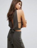 Love High Neck Top With Tie Back
