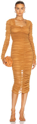 JONATHAN SIMKHAI STANDARD Long Sleeved Ruched Midi Dress in Cinnamon | FWRD