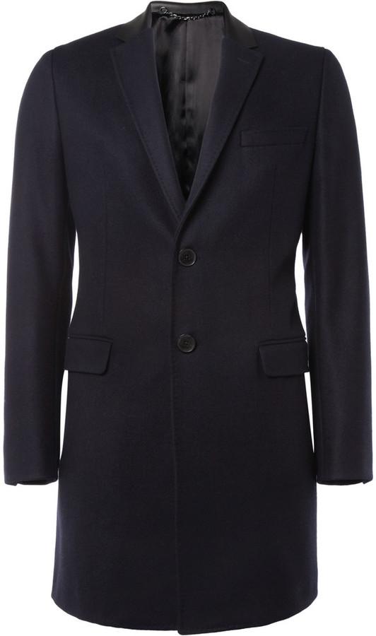 Valentino Leather-Collar Wool Coat