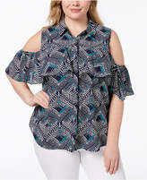 NY Collection Plus Size Printed Cold-Shoulder Shirt