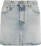 R 13 Distressed denim mini skirt