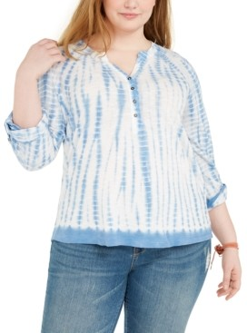 Style&Co. Style & Co Plus Size Tie-Dye Henley, Created for Macy's