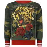 Philipp Plein Girls Green Camouflage Tiger Sweater