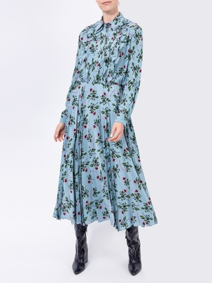 Valentino Blue Ruffles Floral Blouse
