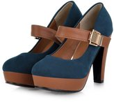 yBeauty Womens High Block Heel Pumps Mary Jane Platform Shoes Round Toe Strap Pumps Velcro Big Size Shoes Suede US6.5