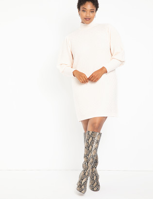 ELOQUII Turtleneck Puff Sleeve Sweater Dress