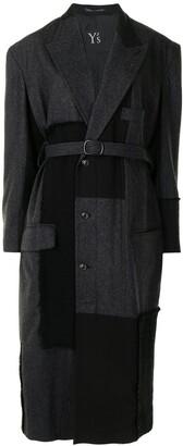 Y's Panelled Belted Coat