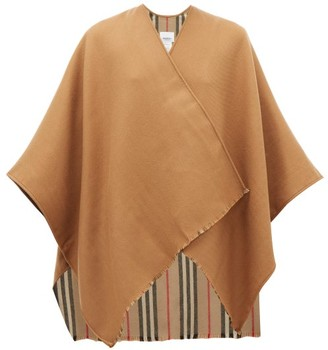 Burberry Charlotte Nova-stripe Oversized Wool Scarf - Beige