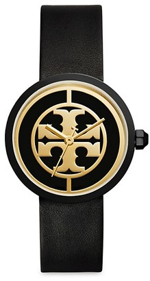 Tory Burch Reva Goldtone Stainless Steel & Leather Strap Watch
