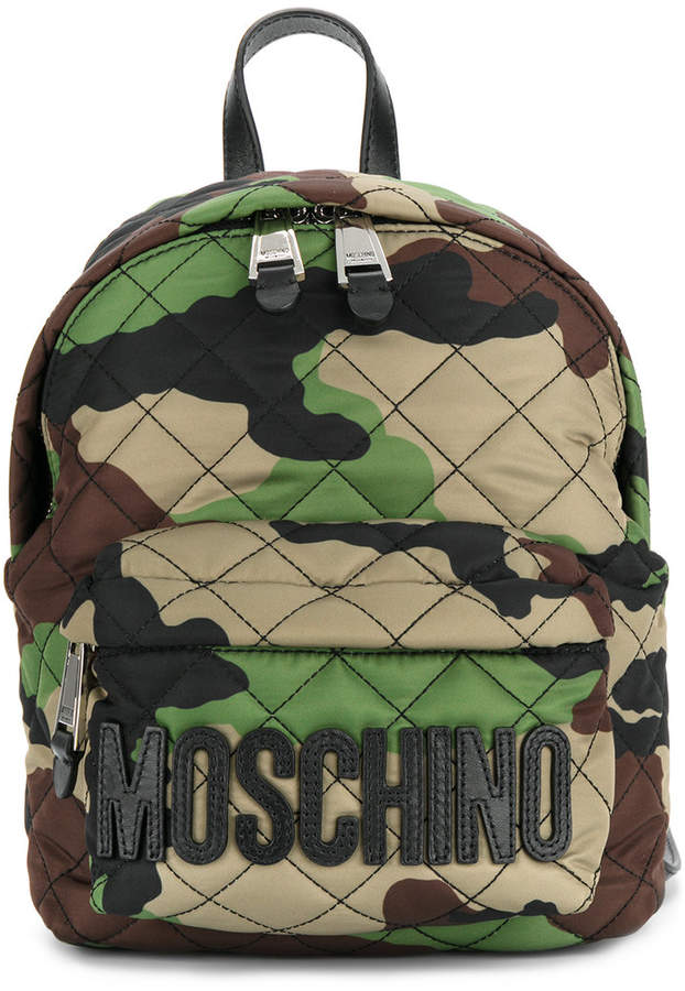 Moschino camouflage logo plaque backpack