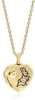 Rhona Sutton Beatrix Potter Gold Plated Sterling Silver Peter Rabbit Heart Locket Necklace