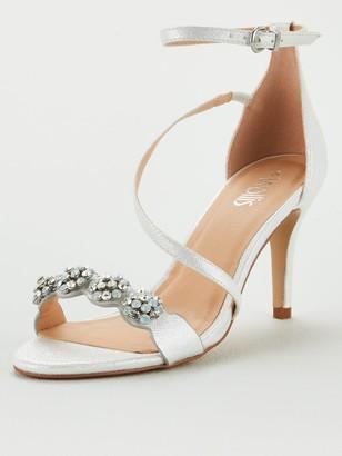 Wallis Jewelled Asymmetric Strap Sandals - White