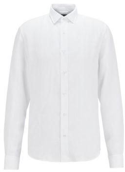 HUGO BOSS Slim Fit Shirt In Washed Italian Linen - White
