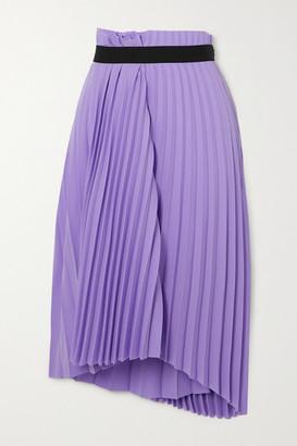 Balenciaga Asymmetric Pleated Crepe Midi Skirt - Lilac