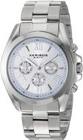 Akribos XXIV AK951SSPU Women's Quartz Stainless Steel Automatic Watch, Silver-Toned