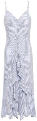 Current/Elliott The Ocean Walk Ruffled Striped Voile Midi Dress
