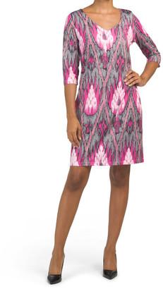 Printed Quarter Sleeve Jersey Shift Dress