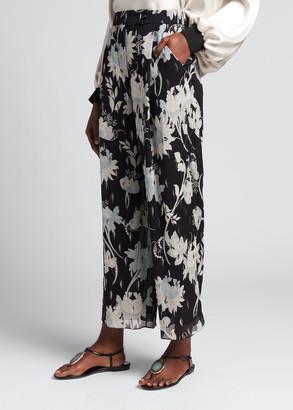Giorgio Armani High-Waist Floral Fil Coupe Silk Chiffon Trousers