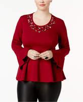 Melissa McCarthy Trendy Plus Size Studded Peplum Top
