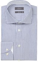 John Lewis Luxury Oxford Stripe Tailored Fit Shirt, Navy/white