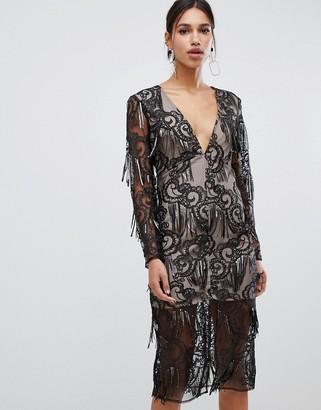 True Decadence premium sequin tassel pencil dress in black