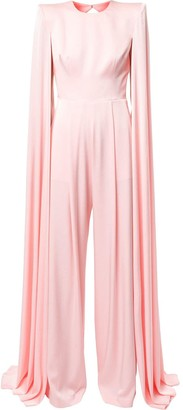 Alex Perry Halston cape-sleeve jumpsuit