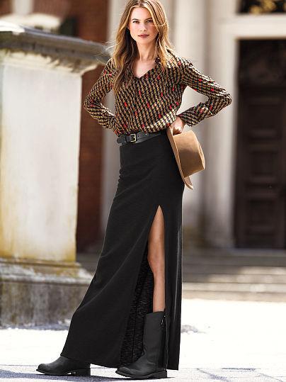 Victoria's Secret Marled-knit Maxi Skirt