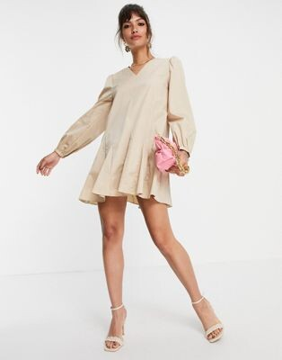 Glamorous a line shift dress with pleated hem in stone