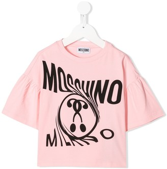 MOSCHINO BAMBINO warped logo-print T-shirt