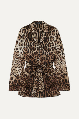Dolce & Gabbana Belted Leopard-print Stretch-silk Blouse - Brown