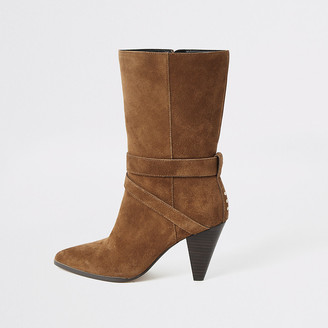 River Island Brown suede strap heeled boots