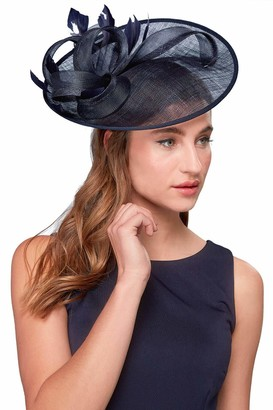 Roman Originals Women Twist Detail Mesh Disc Fascinator - Ladies Smart Special Occasion Evening Wedding Guest Mother of Bride Groom Ascot Races Day Vintage Chic Hat Accessory - Navy - Size ONE