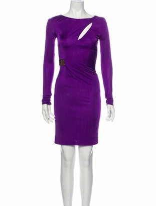 Emilio Pucci Scoop Neck Mini Dress Purple