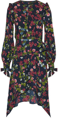 W118 By Walter Baker Andrea Draped Floral-print Crepe De Chine Dress