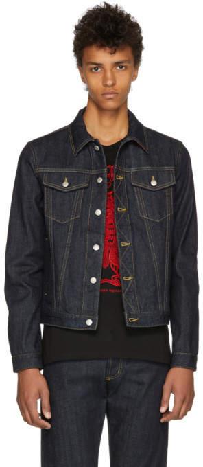 Alexander McQueen Indigo Denim Elbow Patch Jacket