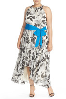 Eliza J Print Chiffon Hi-Lo Maxi Dress (Plus Size)