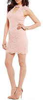 As U Wish Illusion Scalloped Lace Choker Neck Sheath Dress