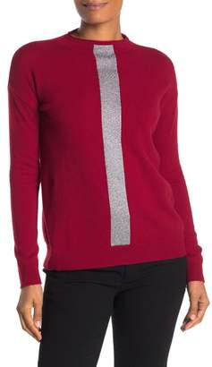 Sofia Cashmere Metallic Knit Mock Neck Cashmere Blend Sweater