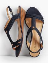 Talbots Capri Braided T-Strap Wedges