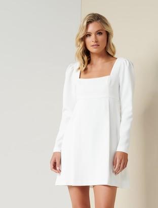 Forever New Serenity Puff-Sleeve Mini Dress - Porcelain - 10