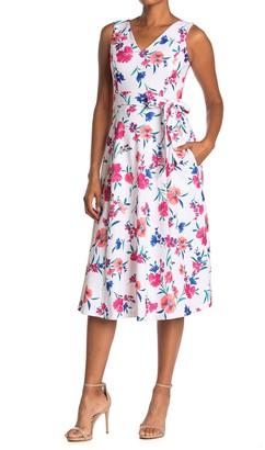 Calvin Klein Floral Tie Waist Midi Dress